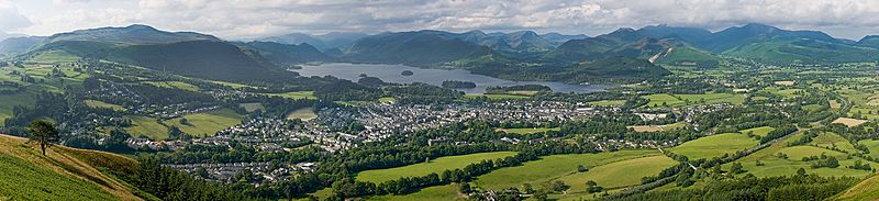 A panoramic view of Keswick, Derwentwater and the surrounding fells, as viewed from Latrigg, north of the town