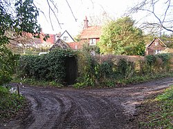Houses at junction of lane to ford at Hanging Wood - geograph.org.uk - 322278.jpg