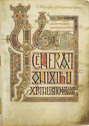 Page from the Lindisfarne Gospels, c 700