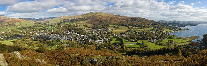 Ambleside (centre-left) and the nearby village of Waterhead (right) as viewed looking East from Loughrigg Fell